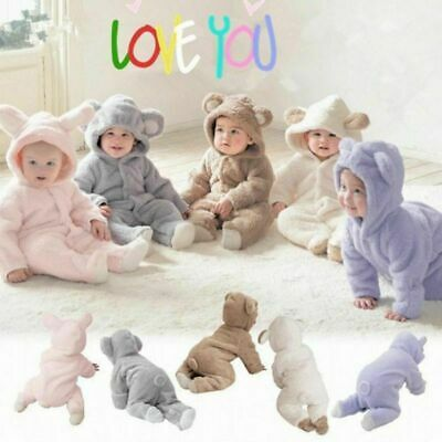 Winter Warm Newborn Baby Boy Girl Romper Hooded Jumpsuit Bodysuit Outfit Clothes