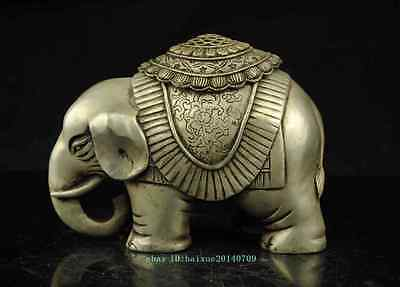 Old China copper plating silver Auspicious Elephant Animal statue censer d02