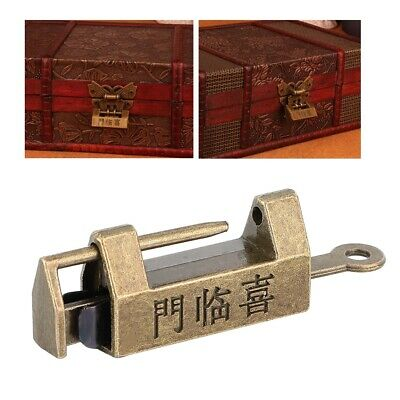 Old Style Chinese Carved Padlock Antique Copper Padlocks & Key for Jewelry Case