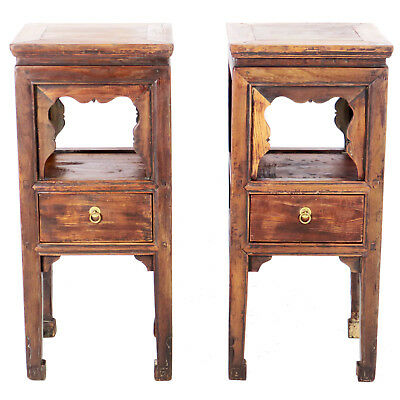 "Pair Antique Chinese Brown Elm Tea End Bedside Tables 15"" x 15"" x 35"" Tall"