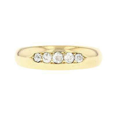 Antique Victorian 1887 18ct Yellow Gold Diamond Five Stone Victorian Band Ring M