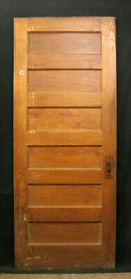 "32""x79"" Antique Vintage Old Interior Solid Wood Wooden Door 6 Flat Stacked Panel"