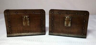 Craftsman Studios, Hammered Copper Bookends, Arts & Crafts Design, Brown Patina