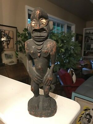 Vintage New Guinea Sepik River Carved Wood FIGURE sculpture ancestral totem