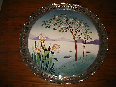 Antique Artnouveau Majolica Serving Tray Plate Landscape Porcelain Facing Frame