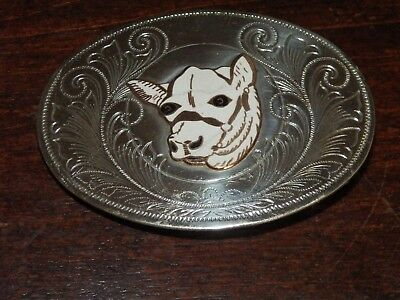 Vintage JUSTIN Nickel Silver Belt Buckle, Western Cowboy Cow