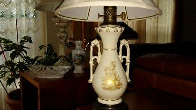 French Country Table Lamp With Gilding Basket Porcelain Vintage