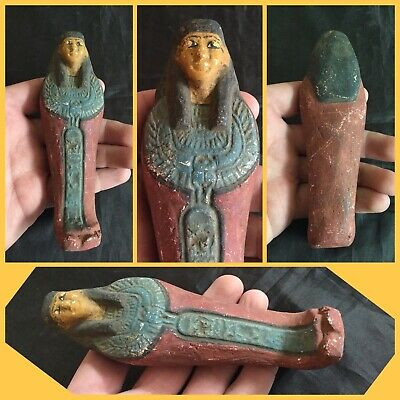 Very rare green/red ancient Egyptian shabti with hieroglyphics, 300 bc .