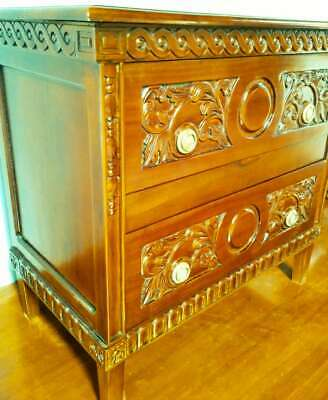 Solid Mahogany Marie Albert Antique French Style Carved Chest Of Drawers