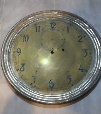 """large antique brass clock dial and bezel almost 20"""""""