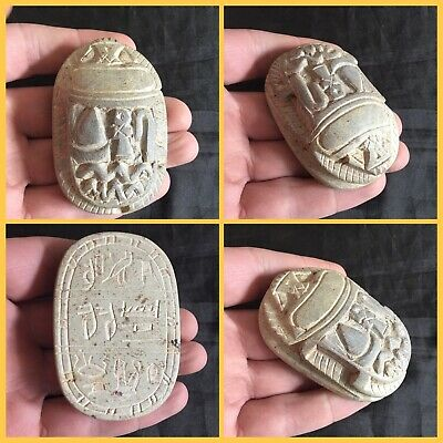 Rare ancient Egyptian heavy alabasta scarab beetle, 300 bc