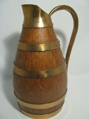 Antique 1933 Geraud Lafitte France Wine,Jug,Copper Oak Wood 8 1/2'' Tall Pitcher