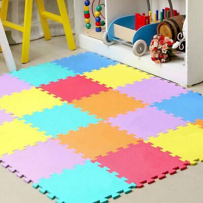 Large 9Pc Eva Interlocking Soft Foam Kids Play Mats Floor Gym Office Tiles