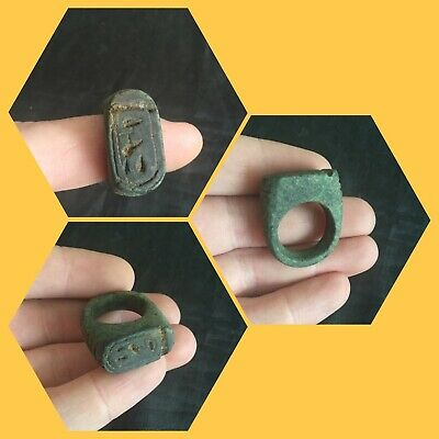 Rare ancient Egyptian blue amulet ring with hieroglyphics, 300 bc
