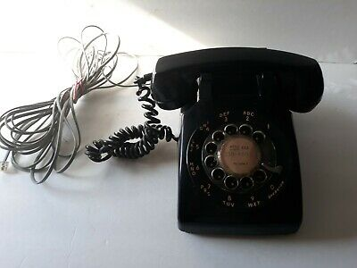 Vintage ITT Black Rotary Desk Phone with cord
