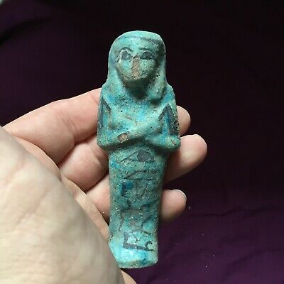 Rare ancient Egyptian blue faience ushabti shabti with hieroglyphics, 1000BC
