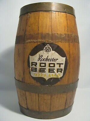 Antique Very Rare Rochester Root Beer Wood 8 1/4'' Tall Barrel