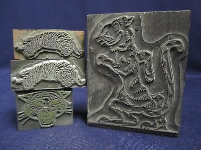 Vintage Antique Lot 4 Tiger Letterpress Print Blocks Heads Full Body B3