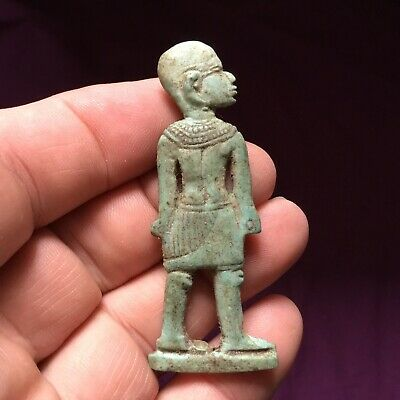 Rare ancient Egyptian blue glaze faience Pharaoh amulet, 300 bc