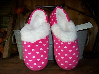 Girls Heart Design Slippers Size Xl 4-5 Color Pink Rubber Sole House Shoes New