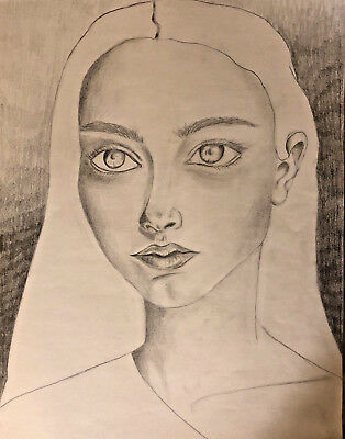 original art by artist for sale portrait drawing Of A Young Girl Woman f. block