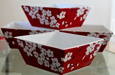222 Fifth Mia Blossoms Red Bowls Cereal Soup Set Of 4 New In Box Floral