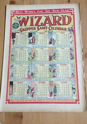 New year's Eve Issue 1949 : The Wizard Comic : FREEPOST 1950 Calendar