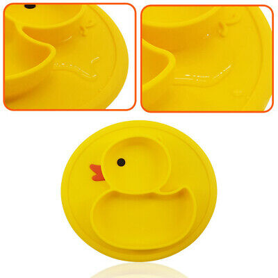 One-Piece Baby Feeding Plate Cute Duck Silicone Food Tray Dishes Suction Holder