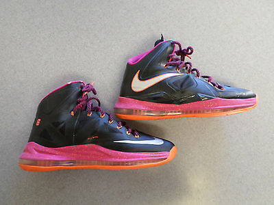 new style ae6b5 256d2  12 Nike Lebron X 10 Floridian black fireberry basketball shoes.