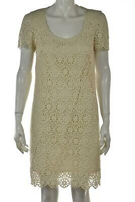 French Connection Dress Size 2 Ivory Sheath Short Sleeve Knee Length Casual