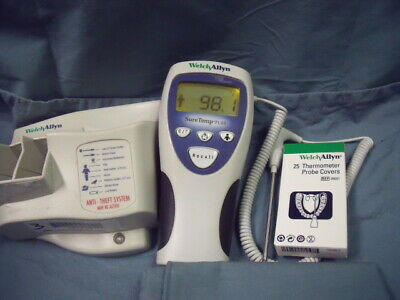 WELCH ALLYN SureTemp Plus Thermometer 692 w/Rectal Probe, Covers, wall Mount!J2