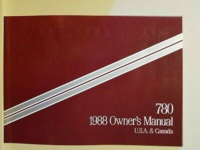 1988 Volvo 780 Owner's Manual US & Canada Version