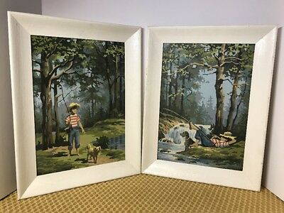 Pair Paint by Number BOY FISHING Stream DOG Cabin Decor 1960's MIDCENTURY Framed