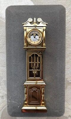 New Miniature Brass Grandfather Clock Bulova Canterbury B0550
