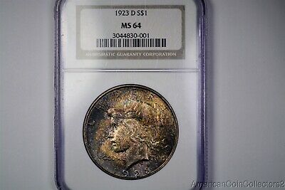 Deeply Toned 1923-D Peace Silver Dollar $1 Look NGC MS 64 | 13948