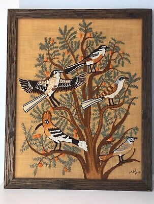 """Large Vintage 1970's Crewel Embroidery """"Birds In Tree"""" Erica Wilson Finished"""
