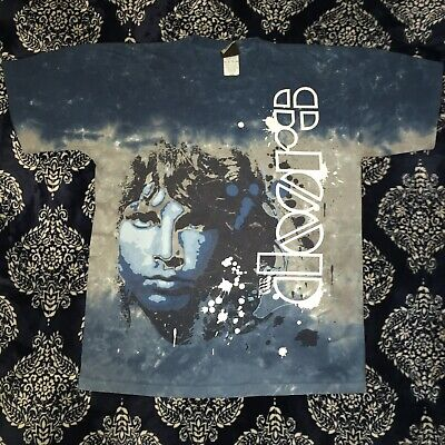 The Doors Jim Morrison Big Print Shirt Size Large USA Made Single Stitch Tie Dye