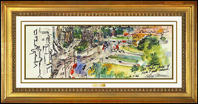 LeRoy Neiman Original Watercolor Painting London Cityscape Signed PUBLISHED Art