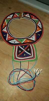 African Beaded Wedding Collar Necklace Female Kwanzaa Kenya Masai