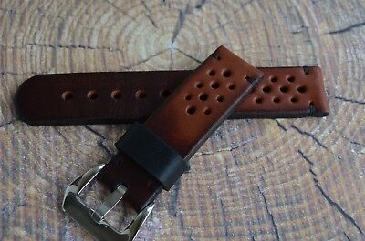 Brown leather watch Rally strap 20mm, 21mm, 22mm, 23mm, 24mm, handmade