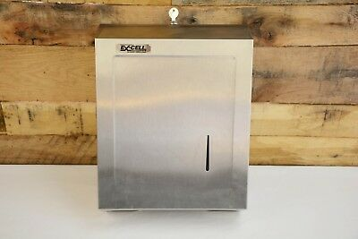 """Excell C-Fold Multifold Stainless Commercial Paper Towel Dispenser w/Key 15-1/2"""""""
