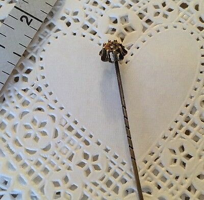 Antique 10K Hat Pin Or Stick Pin With Mine Cut Diamond Victorian