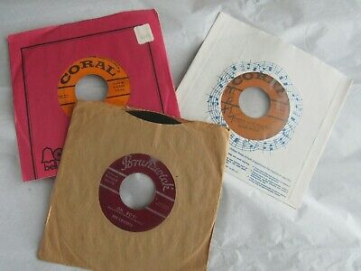"""Lot of 3 The Crickets Buddy Holly 45 rpm 7"""" vinyl records Peggy Sue Oh Boy more"""