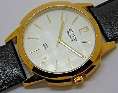 seiko quartz mens gold plated silver dial nice leather strap japan watch run