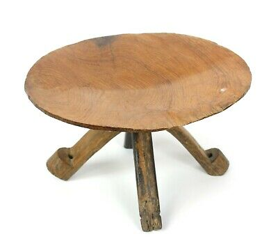 Antique Thai teak gold pan on stand 36cm diameter. Hand crafted in Thailand. Old