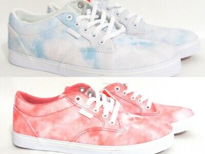 63defb11bf Vans Womens Low Lace Up Skater Shoes Cloud Wash Bright Pink or Cream Tie Dye