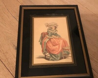 Antique Victorian French Lady Picture Glass Matted In Wood Frame