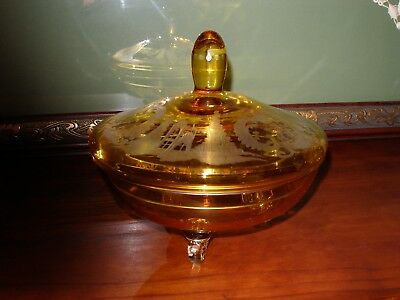 Bohemian cut to clear yellow/amber lidded dish