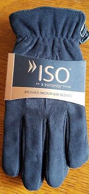 NWT ISO Isotoner Mens Gloves Black Brushed Microfiber Microluxe Lining LARGE