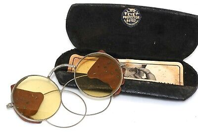 Antique Albex Eye Protector Safety Goggle Eyeglasses Tinted Lens in case